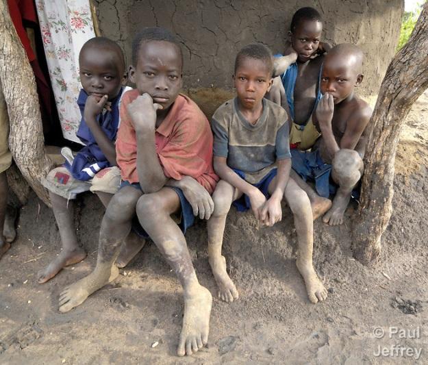 Displaced boys in Uganda